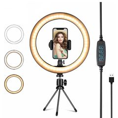 Dimmable Camera Phone Ring Lamp 10 inch With Table Tripods for Makeup Video Live Studio as show