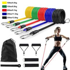 11Pcs/Set Latex Resistance Bands Crossfit Training Exercise Yoga Tubes Pull Rope Rubber Expander as show one size