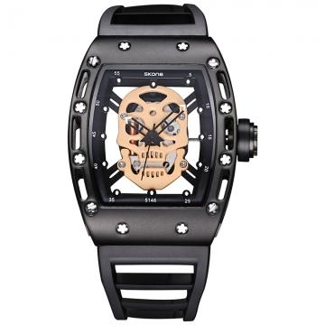 SKONE 2017 Pirate Skull Style Quartz men Watches Brand Men Military Silicone Men Sports Watch rose gold 1