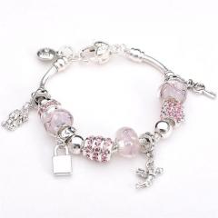 Hot Paris fish pendant Bracelet Crystal Women Charm Bracelets & Bangles DIY Jewelry Gift pink 8inch