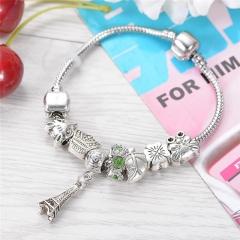 Hot Paris Eiffel Tower Beads Pendant Beads Elegant Charm 925 silver Bracelets & Bangles Women Gift silver 8inch