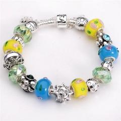 925 Silver Love Heart Crystal Charm Bracelets For Women Fashion DIY Bracelets Jewelry yellow 8inch