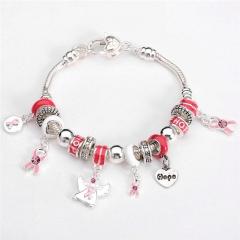 Charm Bracelet Silver Lock  keys Pendant & High-heeled  Chain 925 silver Bracelets Jewelry red 8inch