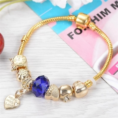 heart Pendant Fashion Elegant Charm 925 silver Bracelets & Bangles with Chamilia Beads For Women gold 8inch