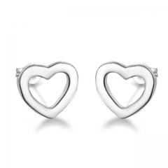 Women 925 Sterling Silver Earrrings Fashion Heart Pendant Stud Jewelry for Girls Valentines Gift silver normal