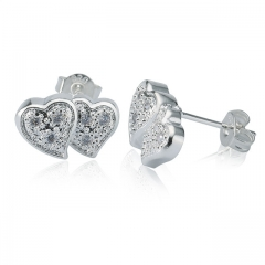 Women Luxury 925 Sterling Silver Earrings Fashion New Heart Style Stud Jewelry Hot Crystal Gift silver normal