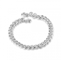 8MM Men Fashion Dress 925 Sterling Silver Bracelet Hot Sales Jewelry Bangle New Style silver 8.5inch