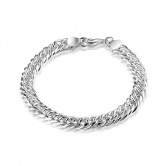 Fashion Women New Jewelry 925 Sterling Silver 8mm Chain Bracelet Hot Sales Bangle silver 8.5inch
