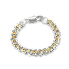 Women 925 Sterling Silver Bracelet Fashion New Gold Plated 10MM Snake Bangle Hot Sales Jewelry Gift silver 8.5inch