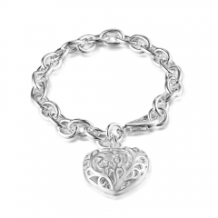 Women Fashion 925 Sterling Silver Bracelet Hollow Heart Pendant Bangle Hot Sales New Jewelry Gift silver 8inch