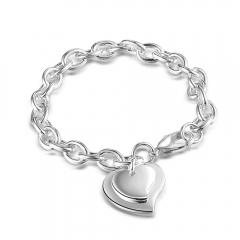 Women Fashion 925 Sterling Silver Bracelet Hot Sale Double Heart Pendant Jewelry New Bangle Gift silver 8inch