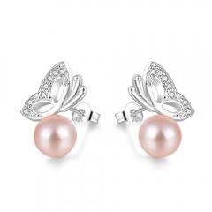 Women Girls Fashion 925 Sterling Silver Pearl Earrings Hot Sales New Crystal Stud Earrings silver 2mm