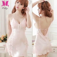 Deep V soft sleeping dress in pink for sexy lady pink free size
