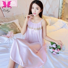 Temptation suit dress skirt lace transparent ice silk underwear light pink free size