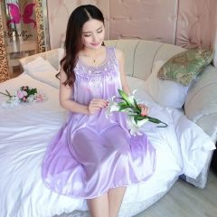 Ladies' skirt tempered suit sleeveless skirt embroidered hollow transparent ice silk shallow purple free size