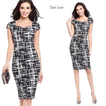 Fashion Sexy Women Elegant Dress Pencil Cross Print Slim Skinny Package Hip Dress short sleeve OL black xl