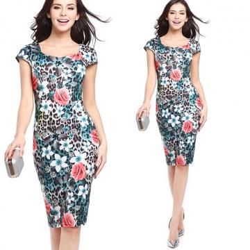 Casa Lasa Women Sexy Print Slim Pencil Dress Short Sleeve Elegant OL Skinny Package Hip Dress Blue Rose l