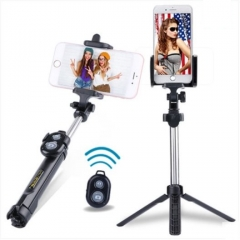 Bluetooth Shutter Selfie Stick + Tripod Monopod Sticks Remote Control Stand Holder bluetooth button black one size