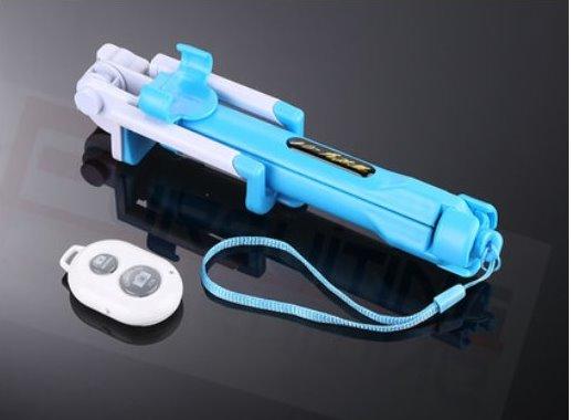 Bluetooth Shutter Selfie Stick + Tripod Monopod Sticks Remote Control Stand Holder bluetooth button blue one size