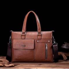 New Style Men Leather  Handbag 14-inch Laptop Bag Briefcase light brown one size