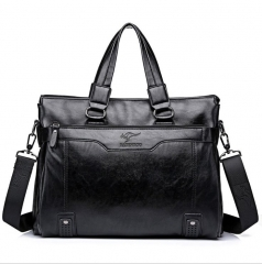 New Style Men Leather Handbag 14-inch Laptop Bag Briefcase black one size
