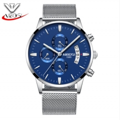 NIBOSI Men's Wrist Watch 6 Pointers Date Quartz Noctilucent Waterproof Stainless Watch Band as picture one size