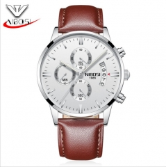 NIBOSI Men's Wrist Watch 6 Pointers Date Quartz Noctilucent Waterproof Leather Watch Band as picture one size