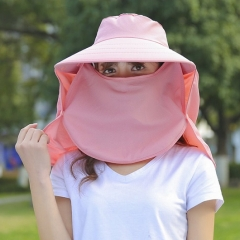 Women Fashion Sun Hat Uv Protection Cover Face Dismountable Hat For Outdoor Travel pink