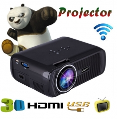 Mini WIFI  1080P 3D HD LED Portable Projector Theater Home Cinema black one size