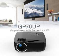 HD GP70UP Mini WIFI  LED Projector with Google Play 1G/8G Bluetooth WiFi TV Beamer black one size