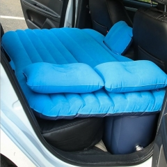 Car Bed Vehicular Aerated Mattress Flocking Air Cushion Bed(Default blue )