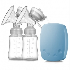 Breast Pump with Milk Bottle for Mothers Powerful Double Intelligent Microcomputer USB Electric blue one size