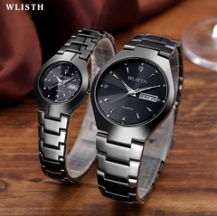 Luxury a pair of lovers Watch  30m Waterproof  Quartz  Noctilucent Calender Wristwatches BlackBelt Black face one size