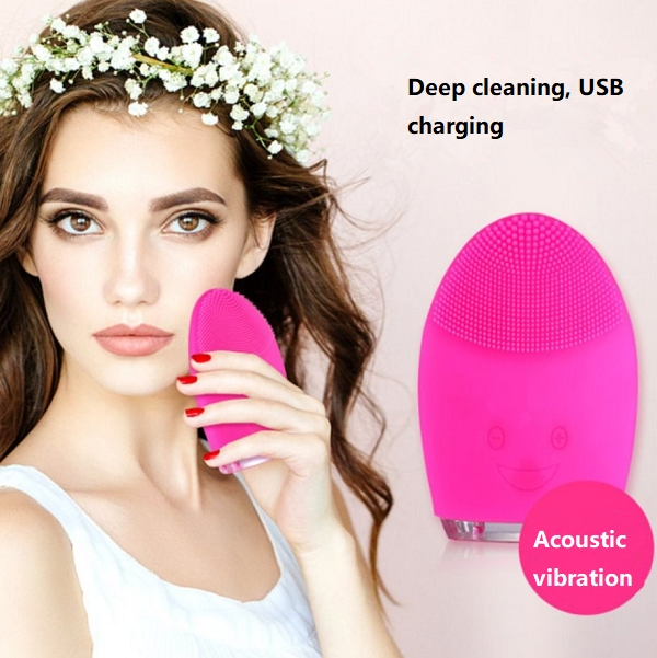 USB Charging Electric Face Cleanser Negative Ions Massager System for Skin Clean RED
