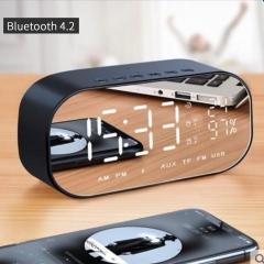 Portable Wireless Bluetooth Speaker Stereo  FM Radio TF Card AUX Alarm Clock black 6 W one size