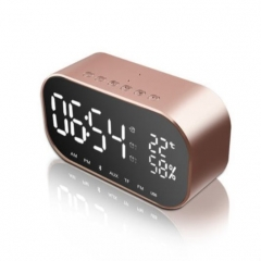 Portable Wireless Bluetooth Speaker Stereo  FM Radio TF Card AUX Alarm Clock rose gold 6 W one size