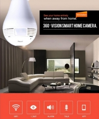 360 Degree Wireless WIFI Security Light Bulb IP Camera 960P CCTV VR LED Lighting-Lamp + 16 GB Card white one size