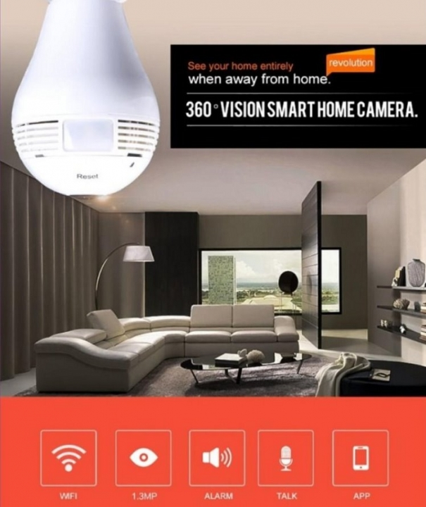 360 Degree Wireless WIFI Security Light Bulb IP Camera  200W Pixel CCTV VR + 16 GB Card Only IP Camera one size