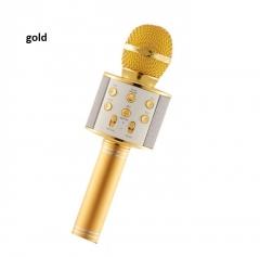 WS858 Wireless Bluetooth Karaoke Microphone Portable Speaker KTV MIC gold 5w one size