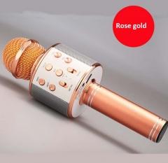 WS858 Wireless Bluetooth Karaoke Microphone Portable Speaker KTV MIC rose gold 5w one size