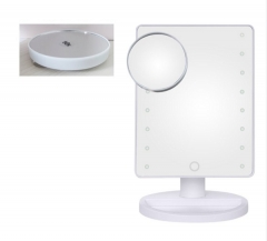 Adjustable 16 LED Lighted Makeup Mirror Magnifying Vanity Tabletop Lamp Cosmetic Mirror Make Up Tool white one size