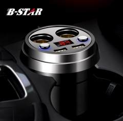 3.1A Fast Car Charger Double USB Double Cigarette Lighter Digital LED Display Voltage black one size