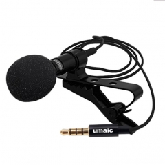 Mini Clip-on Collar Tie Mobile Phone Lavalier Microphone for iOS Android Cell Phone Laptop Tablet black one size
