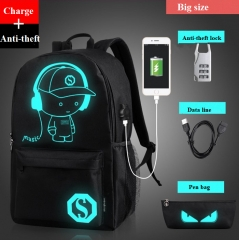 Men's Shoulder Bag USB  Backpack Schoolbag Night Light Outdoor Leisure Knapsack+coded lock+Pen bag black one size