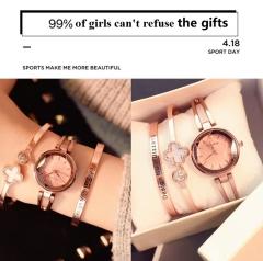ULZZANG Women Fashion Wristwatches Ladies Classic Luxury Quartz Watches With Bracelet rose gold