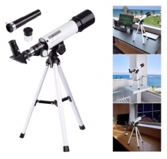 F36050 360/50mm Refractive Astronomical Telescope Monocular Space Spotting with Tripod silver one size