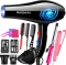 SUOZHI 5-speed  Blue Light Anion Ceramic Ionic Fast Styling Blow Dryer Hair Drier +full tools black one size