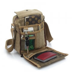 Men's Canvas Shoulder Bag Khaki one size