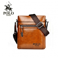 Luxurious Fashion Men  Shoulder Bag  Leather Business Messenger Bag khaki Vertical