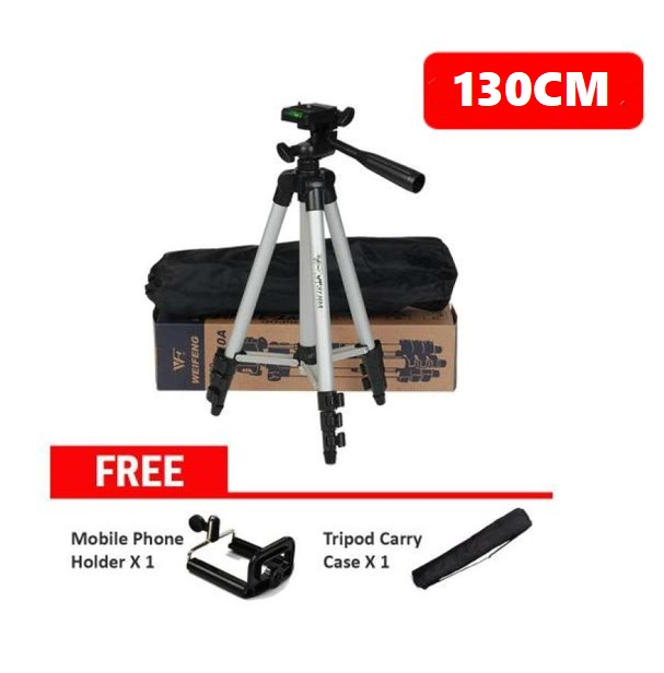 130cm Lightweight Aluminum Flexible Phone/Camera Tripod with Mobile Phone Holder + Tripod Carry Case silver one size